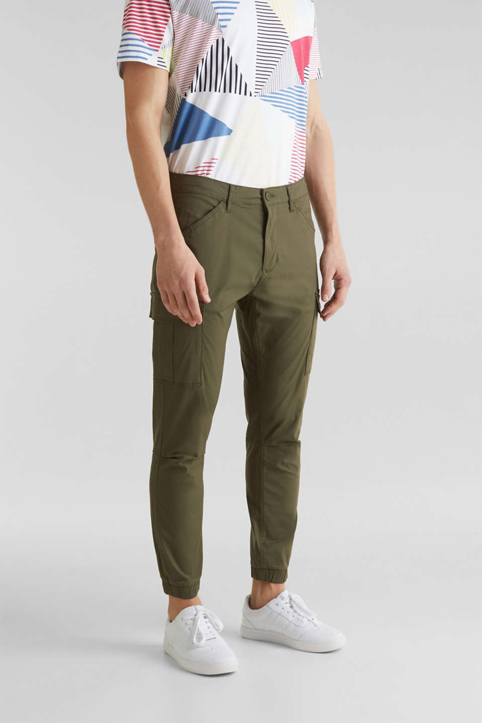 Cargo trousers with stretch, KHAKI GREEN, detail image number 0