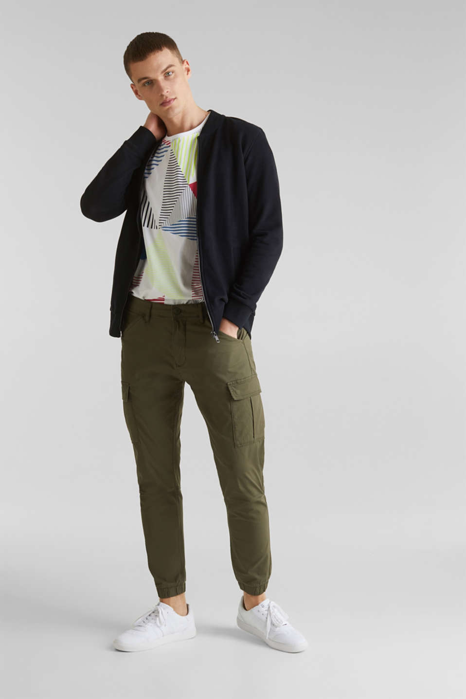 Cargo trousers with stretch, KHAKI GREEN, detail image number 1