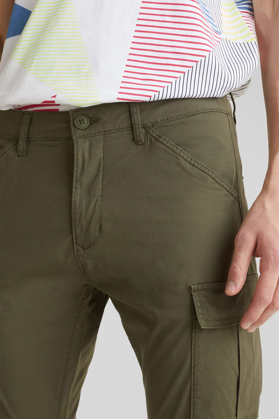 Cargo trousers with stretch, KHAKI GREEN, detail image number 2