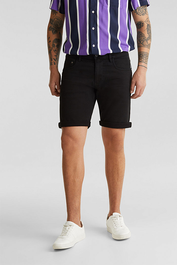 Stretch denim shorts with a pigment-dyed finish, BLACK, detail image number 0
