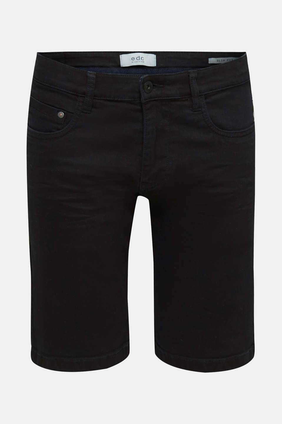 Stretch denim shorts with a pigment-dyed finish, BLACK, detail image number 6