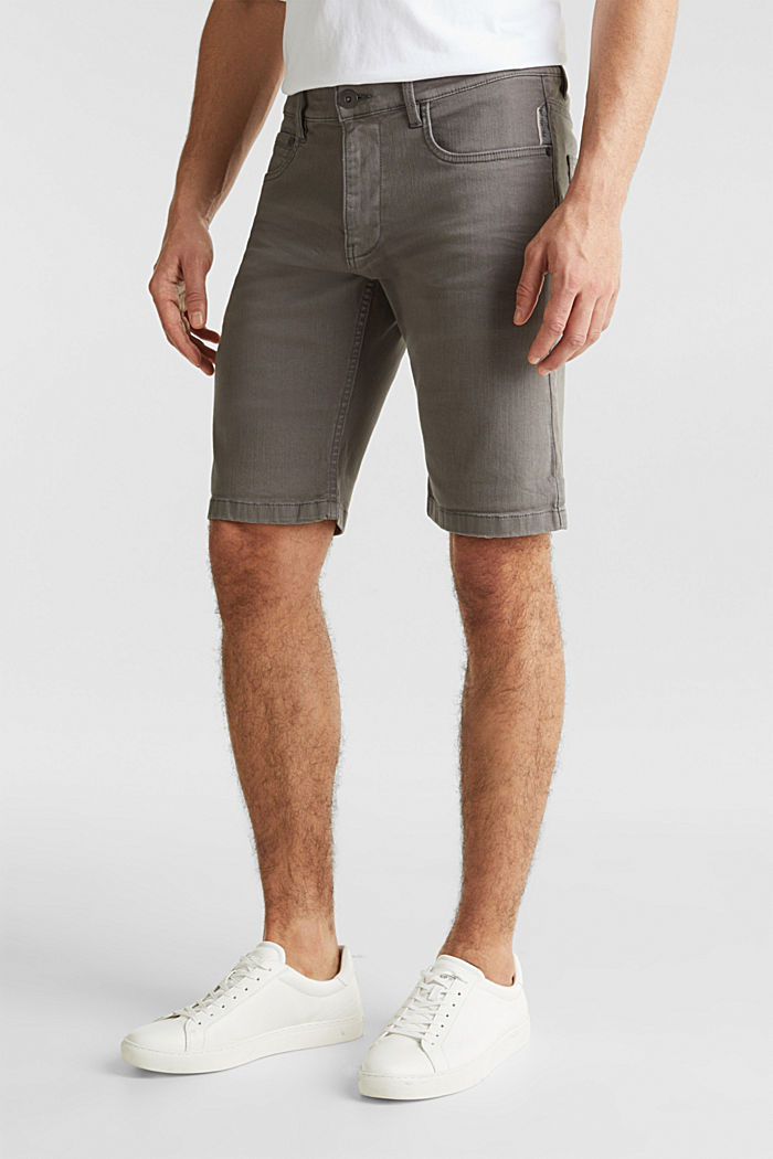 Stretch denim shorts with a pigment-dyed finish, DARK GREY, detail image number 0