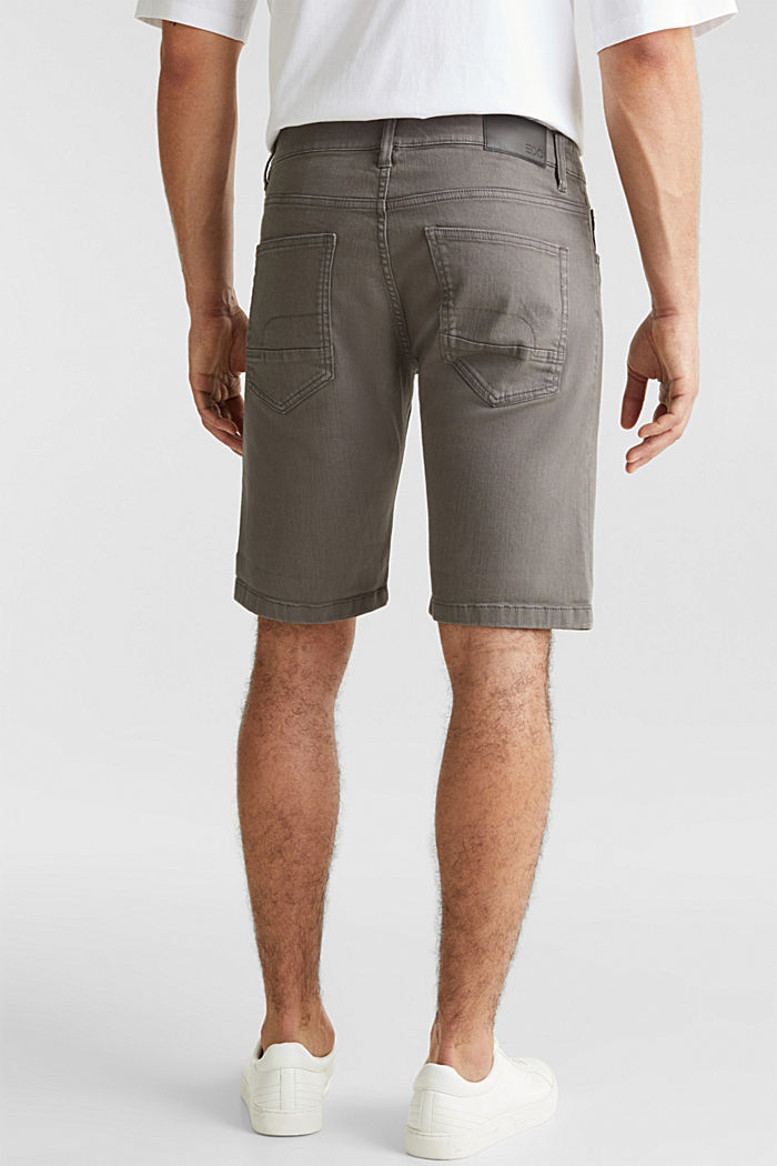 Stretch denim shorts with a pigment-dyed finish, DARK GREY, detail image number 2