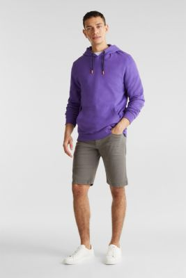 Stretch denim shorts with a pigment-dyed finish, DARK GREY, detail