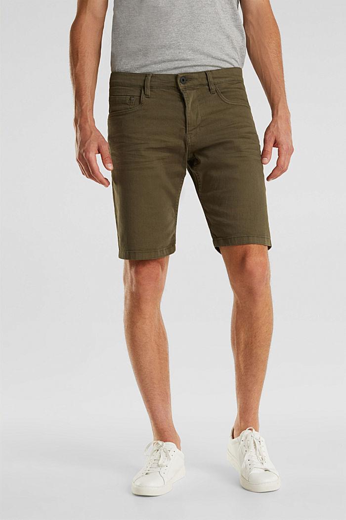 Stretch-Jeansshorts mit Pigmentfärbung, OLIVE, detail image number 0