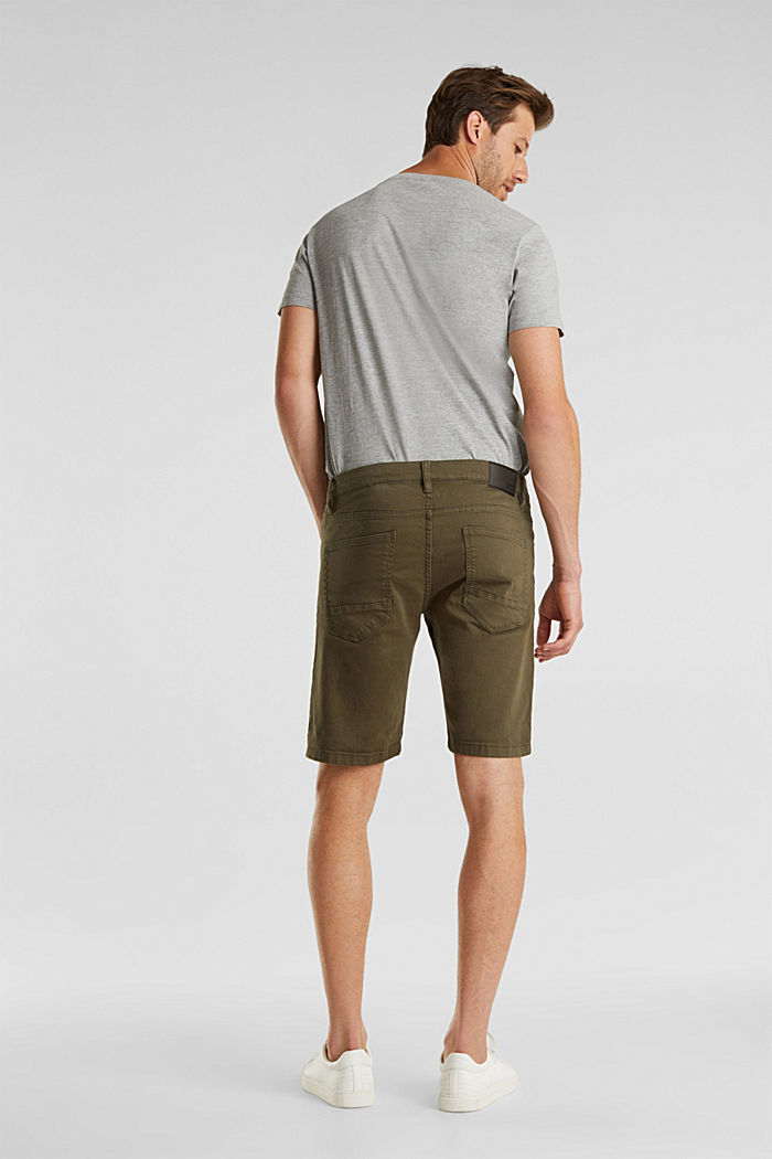 Stretch denim shorts with a pigment-dyed finish, OLIVE, detail image number 3