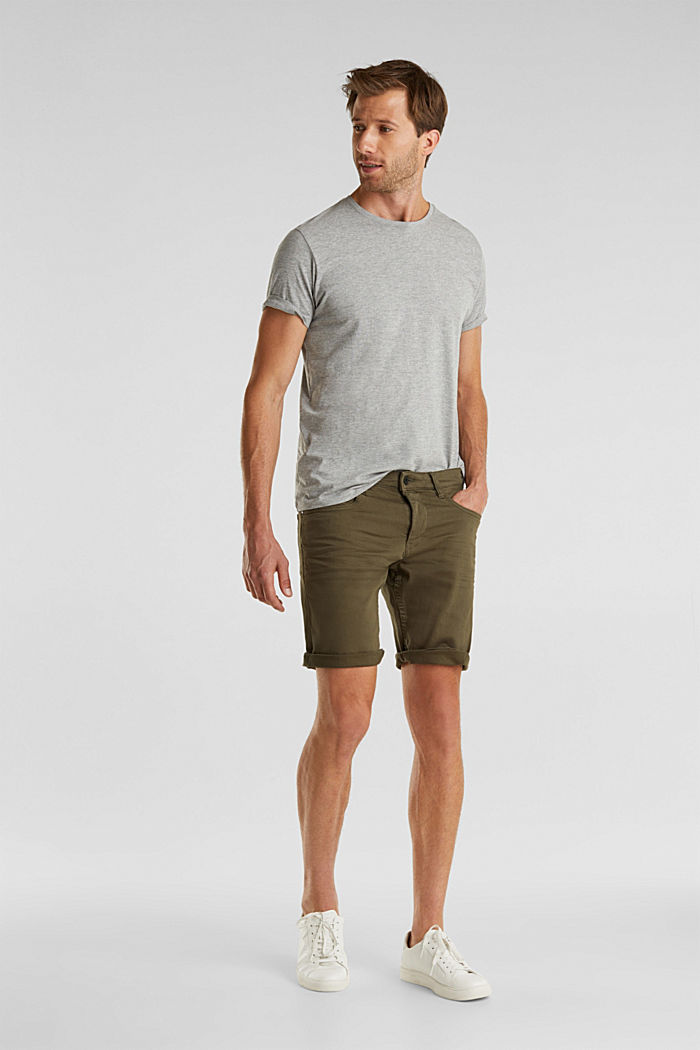 Stretch denim shorts with a pigment-dyed finish, OLIVE, detail image number 1