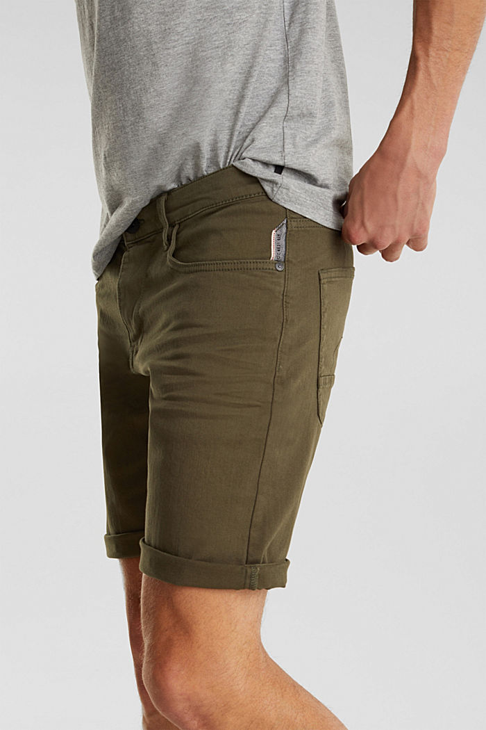 Stretch denim shorts with a pigment-dyed finish, OLIVE, detail image number 2