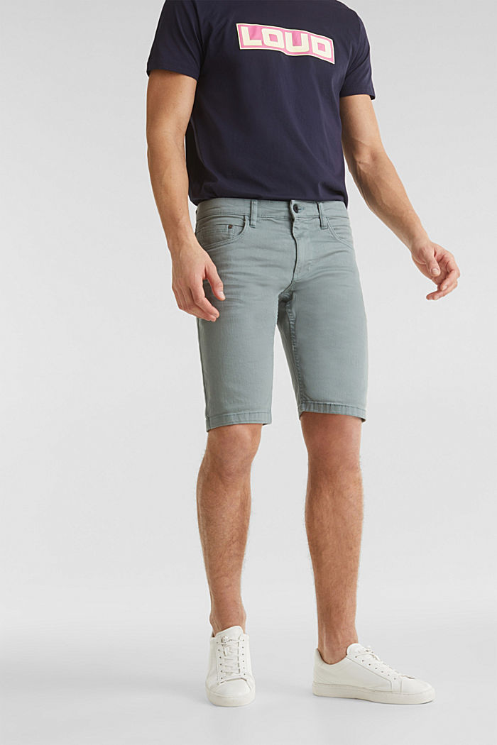 Stretch-Jeansshorts mit Pigmentfärbung, TEAL GREEN, overview
