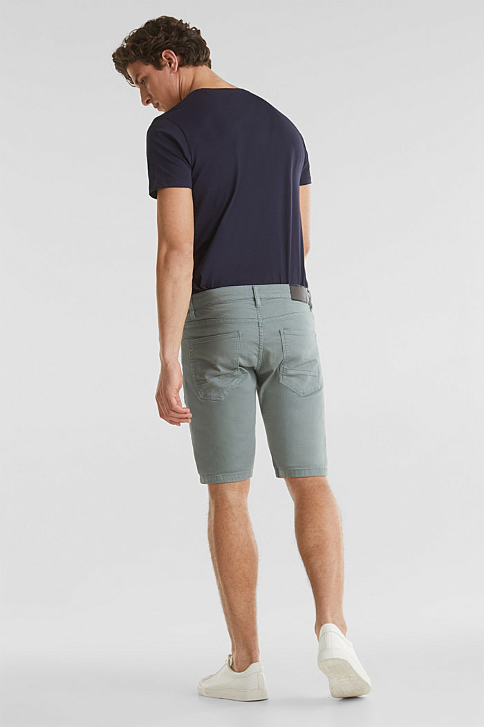 Stretch denim shorts with a pigment-dyed finish, TEAL GREEN, detail image number 3