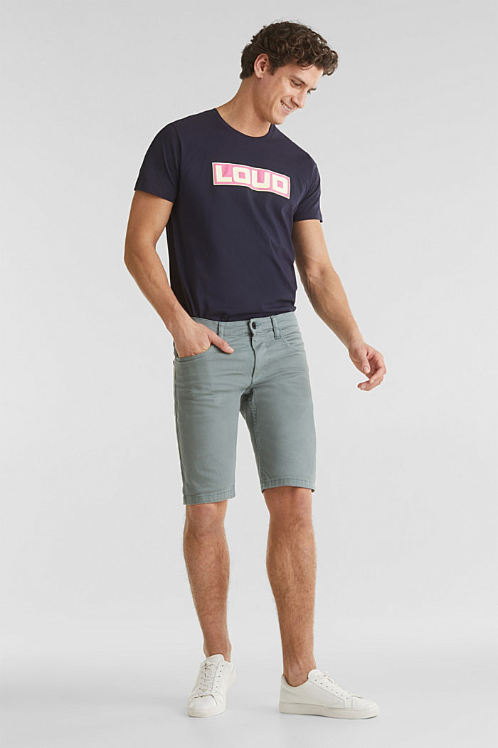 Stretch denim shorts with a pigment-dyed finish, TEAL GREEN, detail image number 1