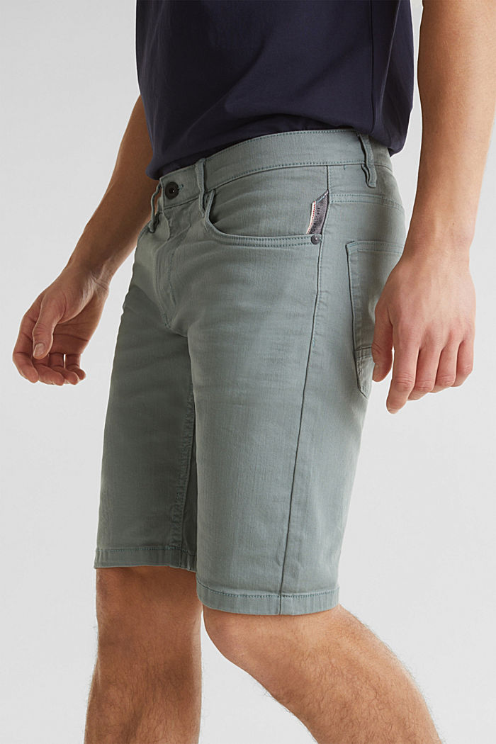 Stretch denim shorts with a pigment-dyed finish, TEAL GREEN, detail image number 2