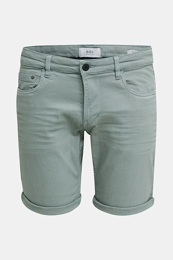 Stretch denim shorts with a pigment-dyed finish, TEAL GREEN, overview
