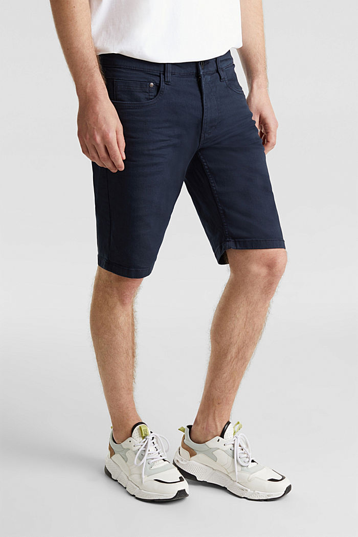 Stretch denim shorts with a pigment-dyed finish, NAVY, detail image number 4