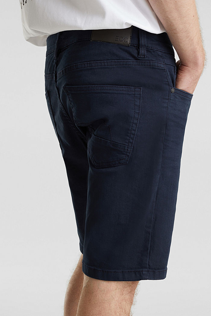 Stretch denim shorts with a pigment-dyed finish, NAVY, detail image number 1