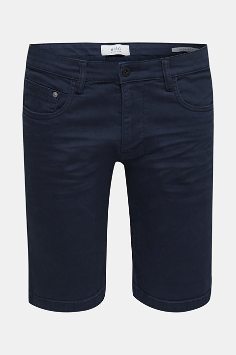Stretch denim shorts with a pigment-dyed finish