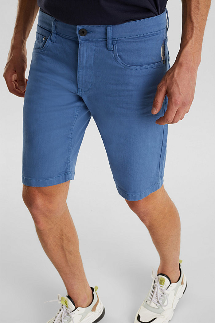 Stretch denim shorts with a pigment-dyed finish, BRIGHT BLUE, detail image number 2