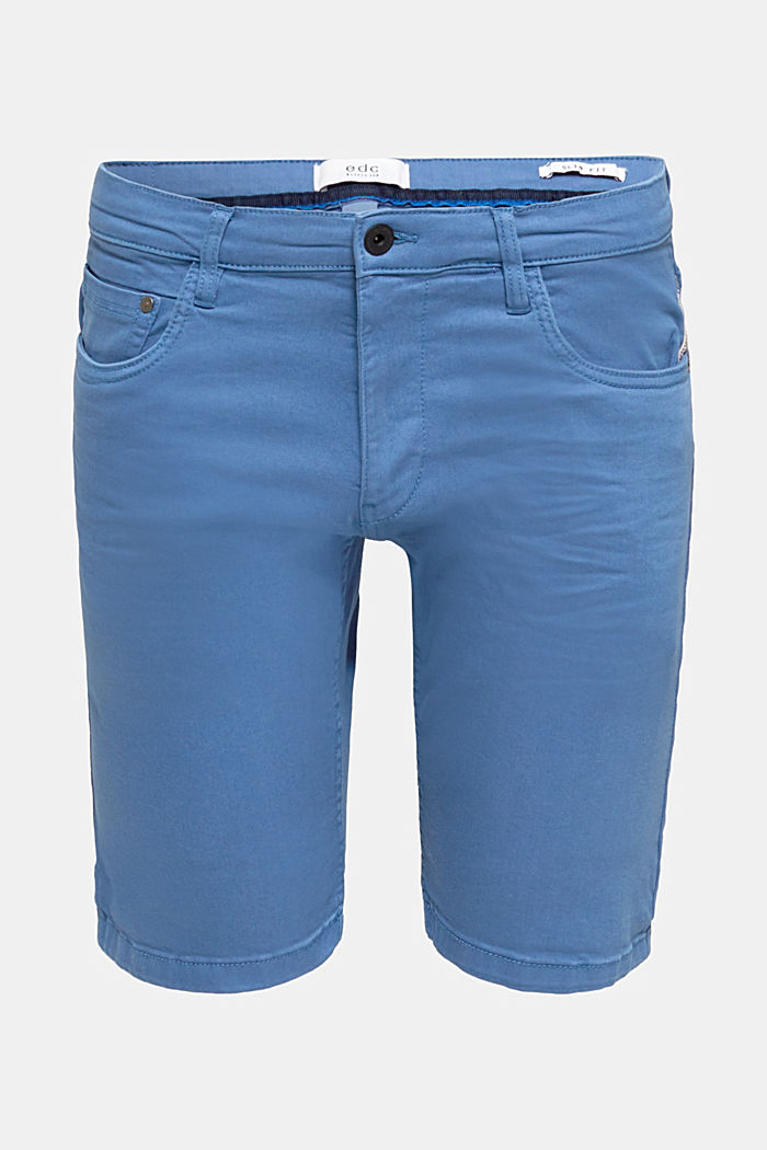Stretch denim shorts with a pigment-dyed finish, BRIGHT BLUE, detail image number 5