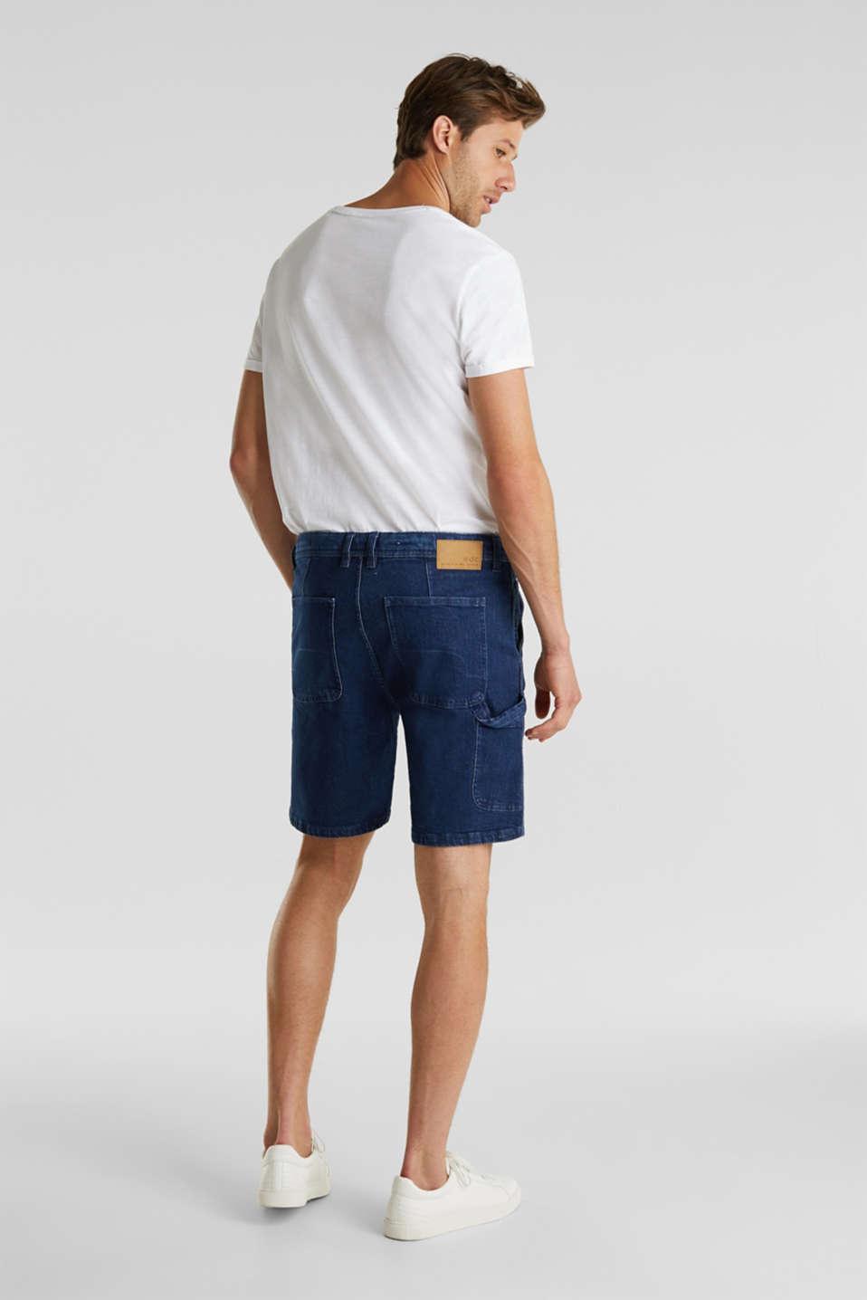 Denim shorts in a utility look, BLUE DARK WASH, detail image number 3