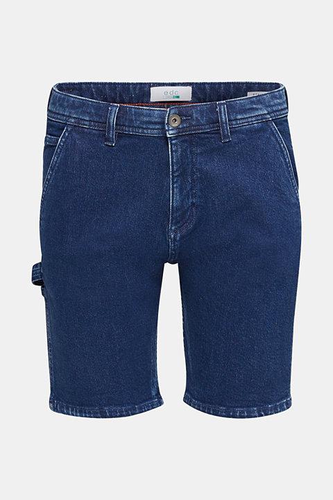 Stretch denim shorts with utility details