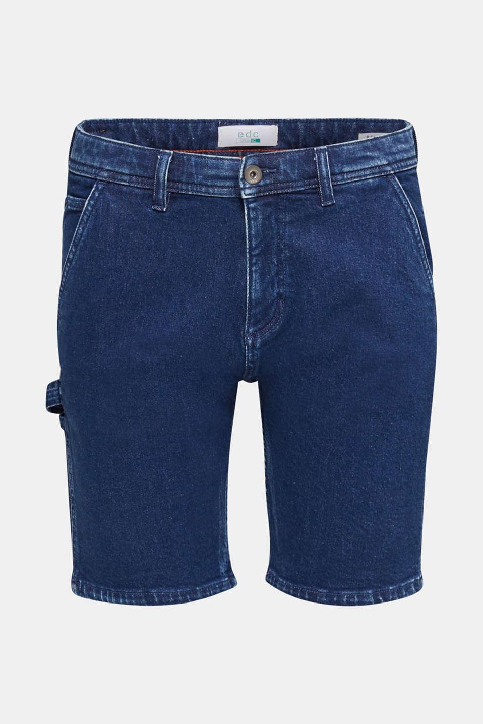 Denim shorts in a utility look, BLUE DARK WASH, detail image number 5
