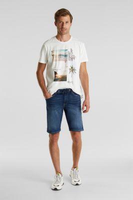 Super stretch Bermuda shorts, BLUE DARK WASH, detail