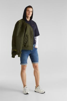 Super stretch denim shorts, BLUE MEDIUM WASH, detail