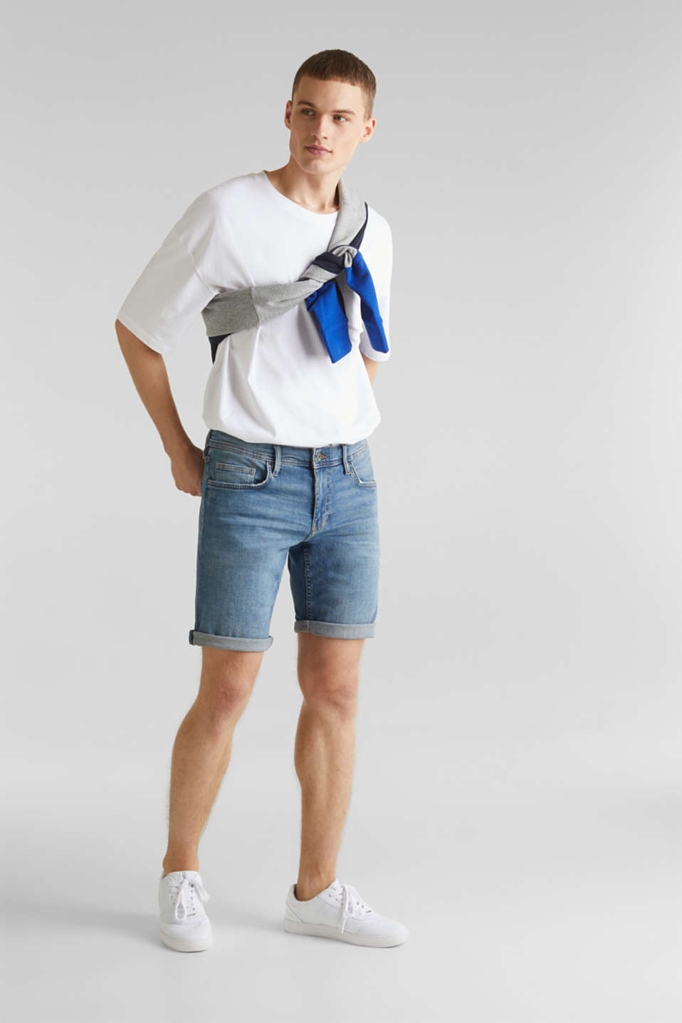 edc - Denim short met superstretch