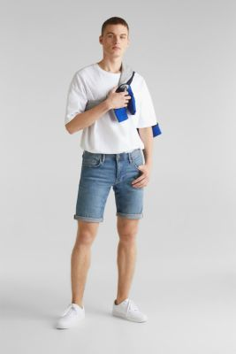 Super stretch denim shorts, BLUE LIGHT WASH, detail