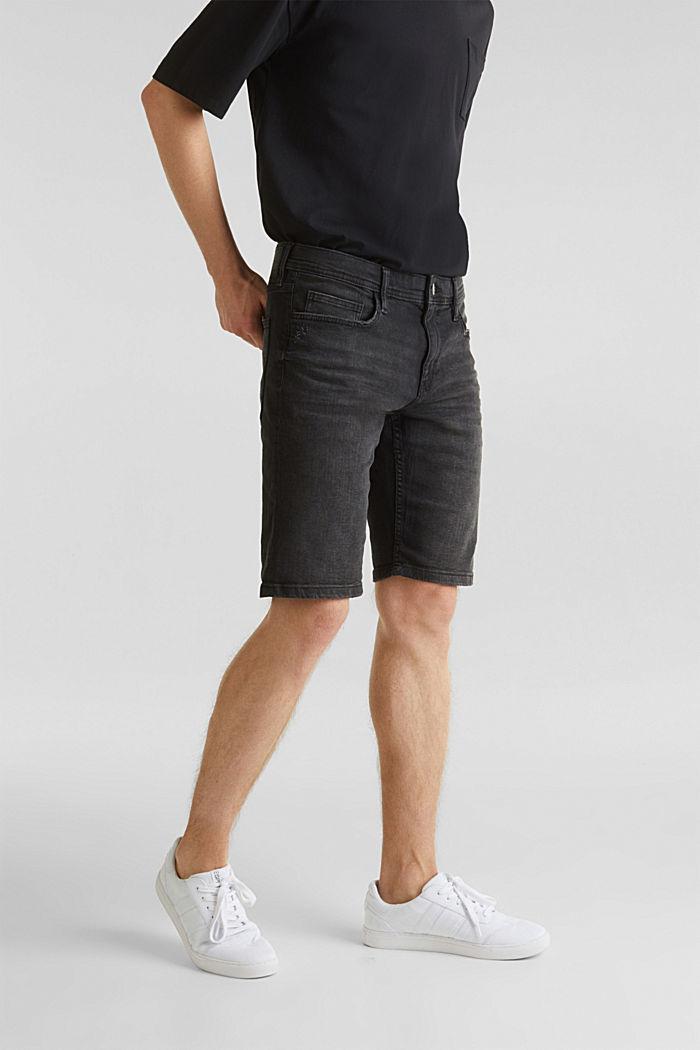 Superstretch-Denim-Shorts, BLACK DARK WASHED, detail image number 0