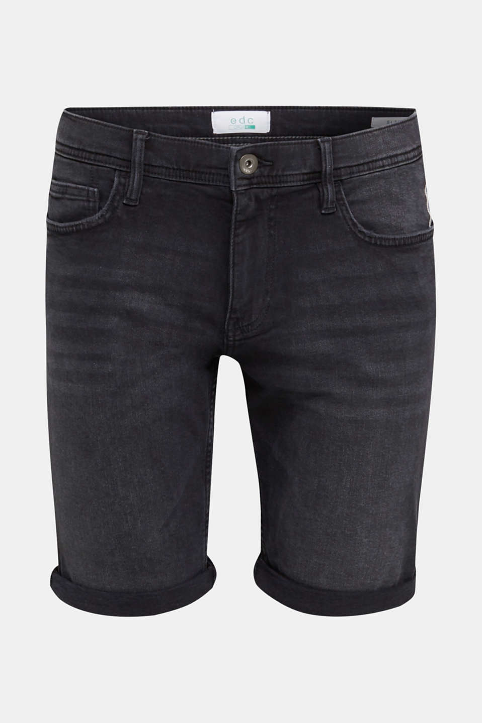 Super stretch denim shorts, BLACK DARK WASH, detail image number 7