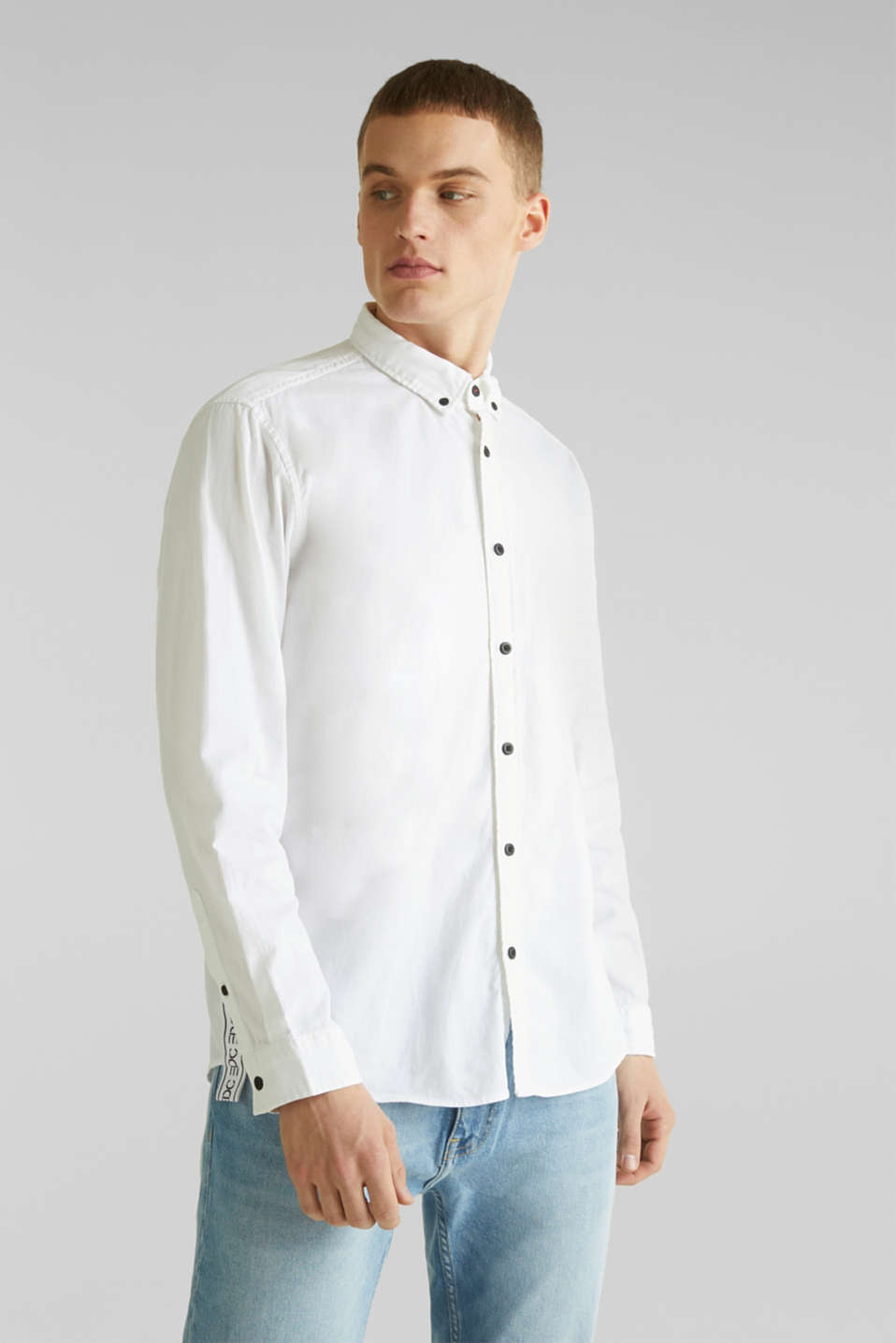 edc - Button down-skjorta i 100% bomull