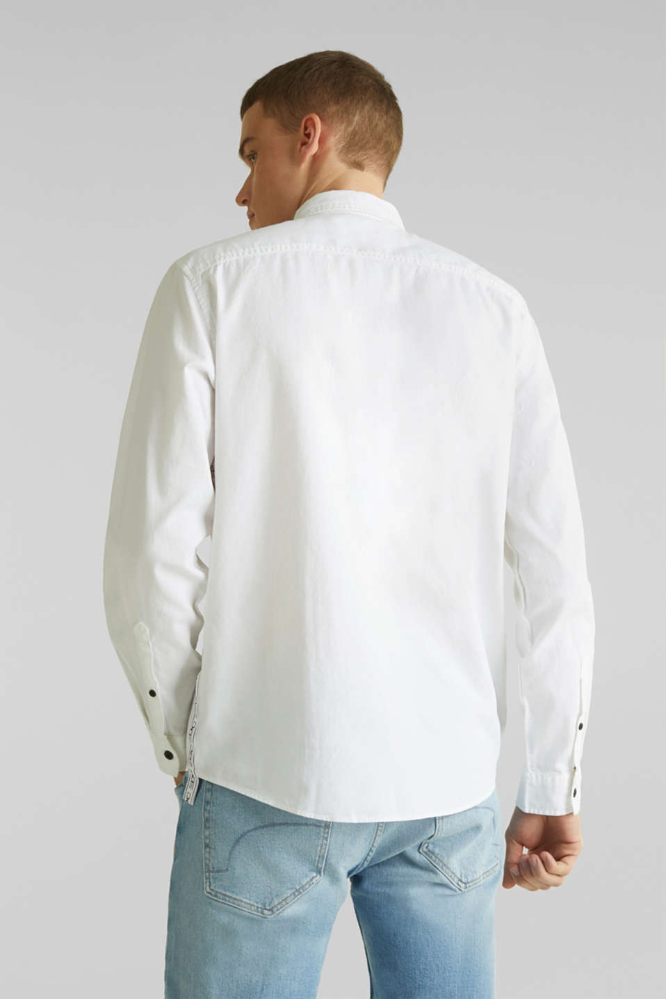 Button-down shirt in 100% cotton, WHITE 5, detail image number 3