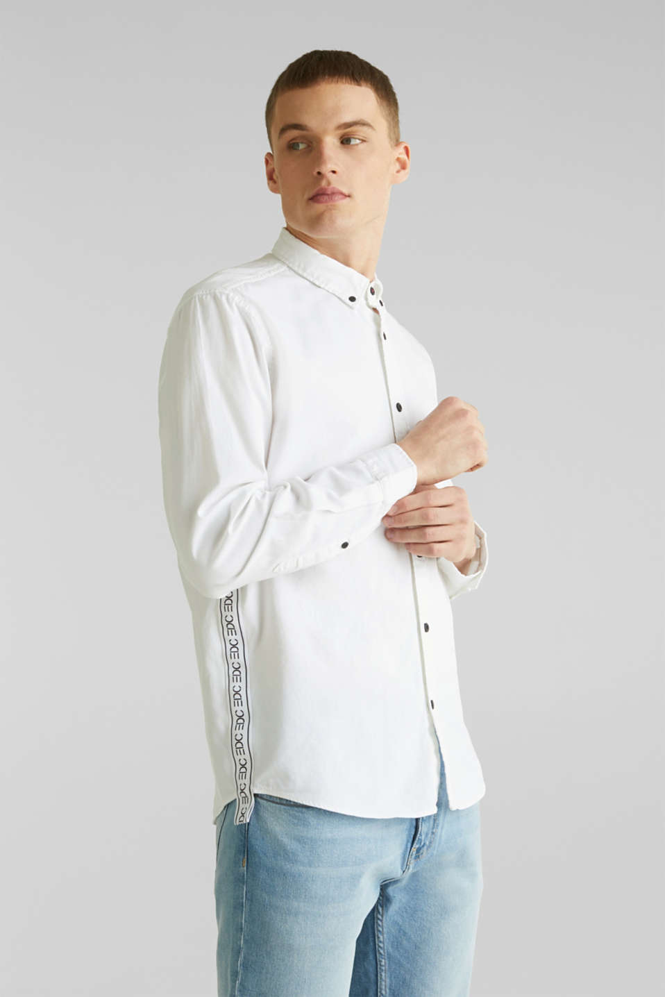 Button-down shirt in 100% cotton, WHITE 5, detail image number 6