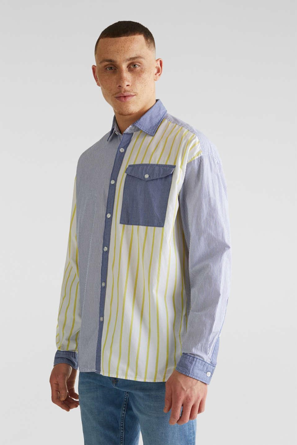Patchwork shirt made of 100%, INK 3, detail image number 0
