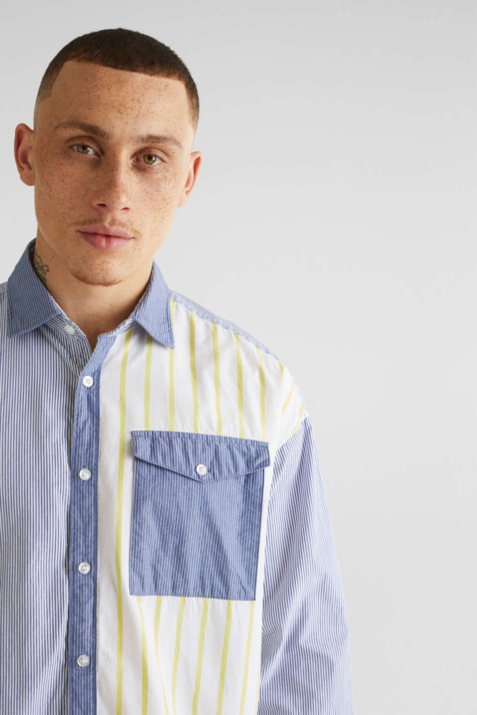 Patchwork shirt made of 100%, INK 3, detail image number 5