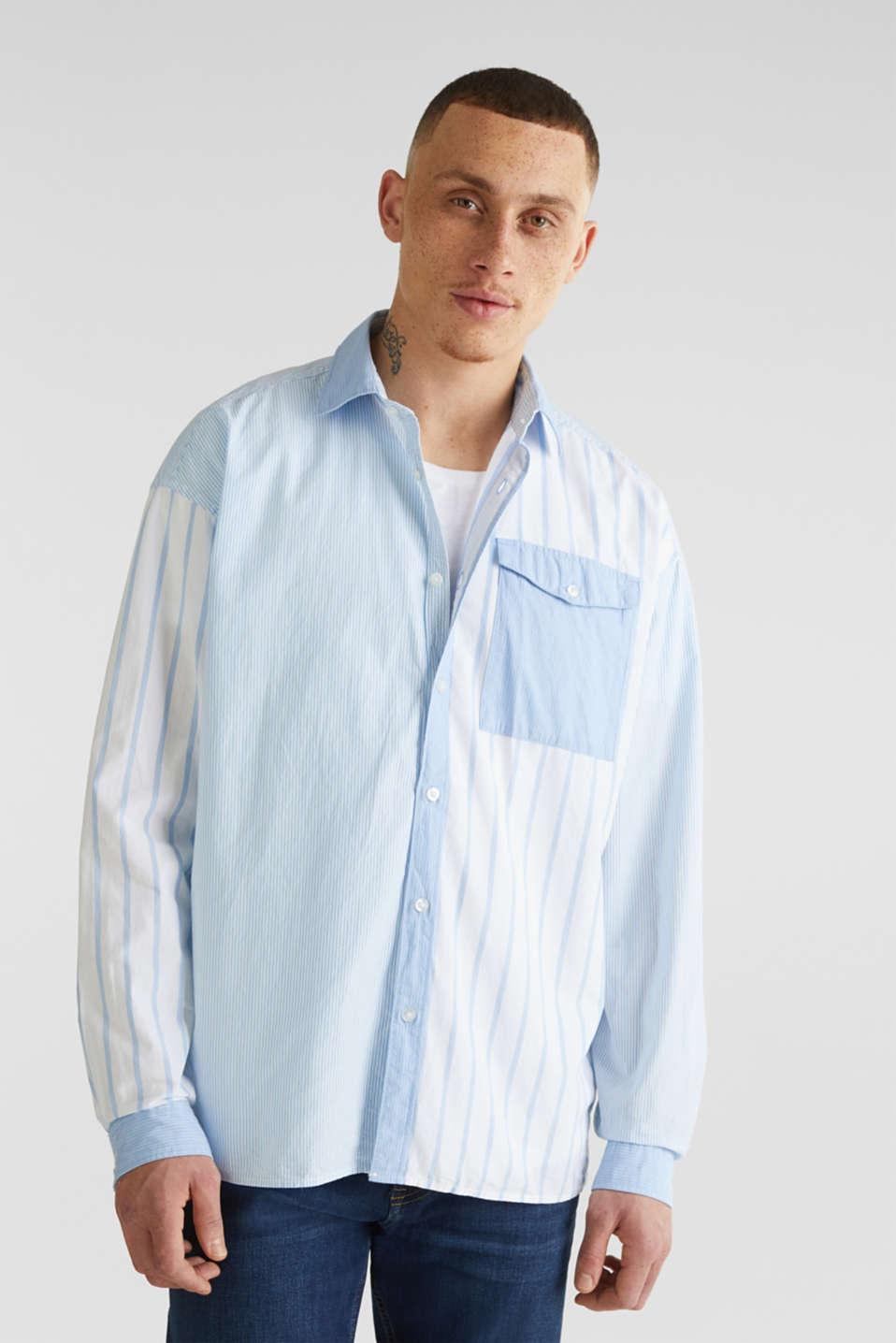 Patchwork shirt made of 100%, LIGHT BLUE 3, detail image number 0