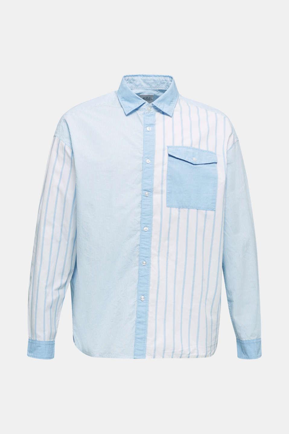 Patchwork shirt made of 100%, LIGHT BLUE 3, detail image number 5