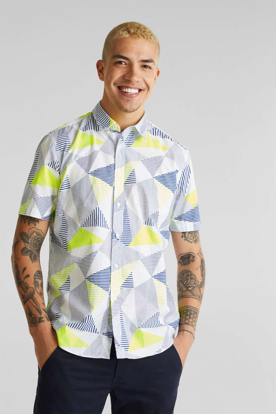 Shirt with a geometric print, 100% cotton, WHITE 4, detail image number 0