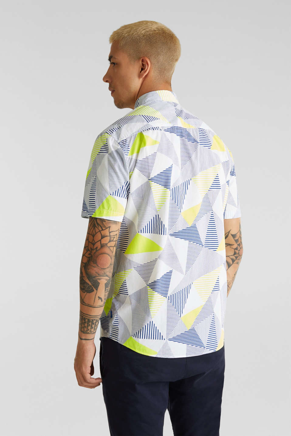 Shirt with a geometric print, 100% cotton, WHITE 4, detail image number 3