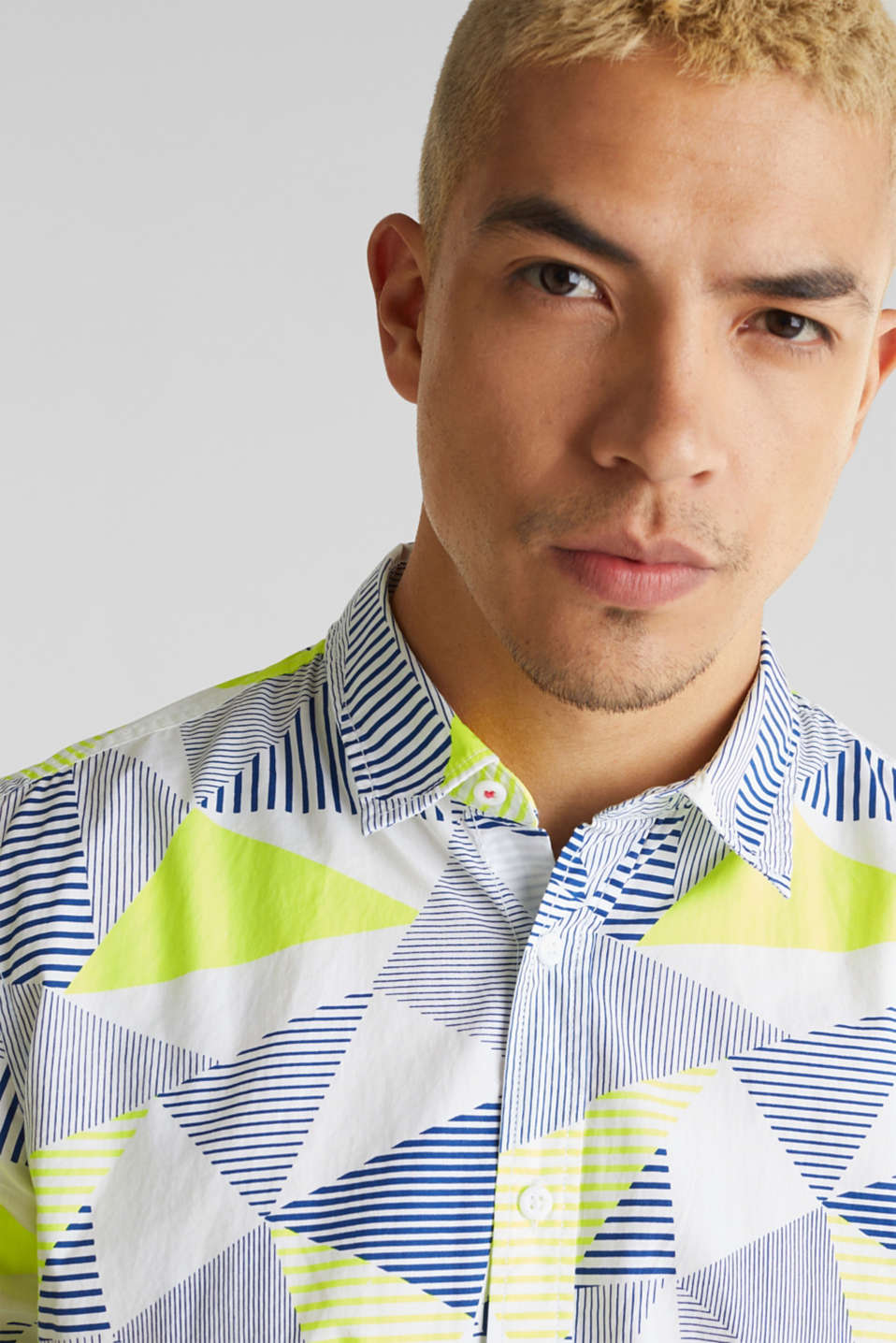 Shirt with a geometric print, 100% cotton, WHITE 4, detail image number 2
