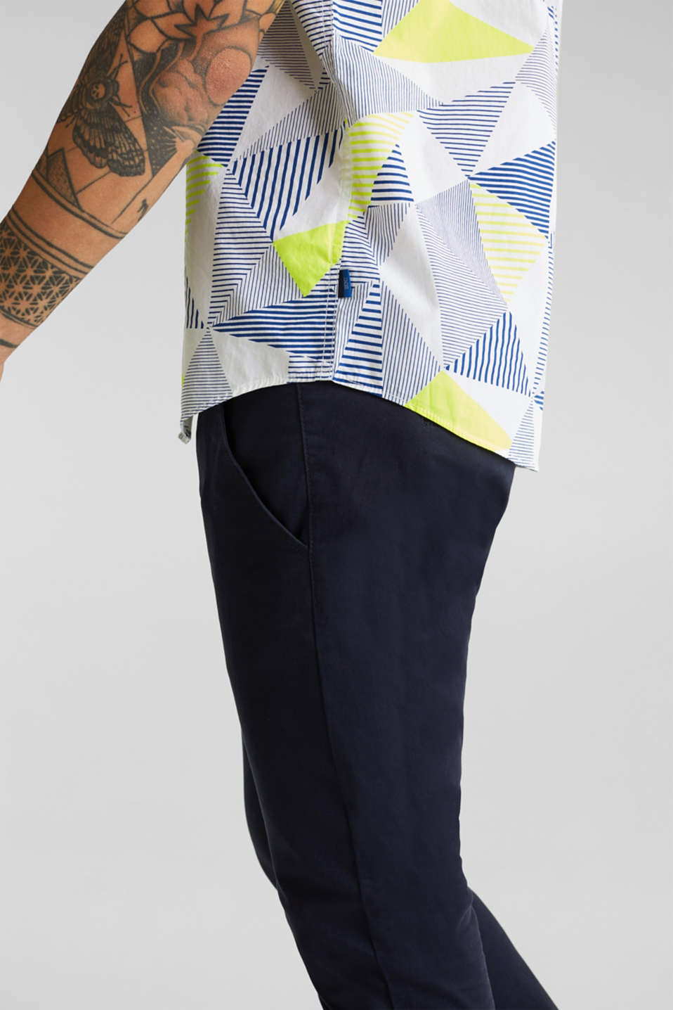 Shirt with a geometric print, 100% cotton, WHITE 4, detail image number 6