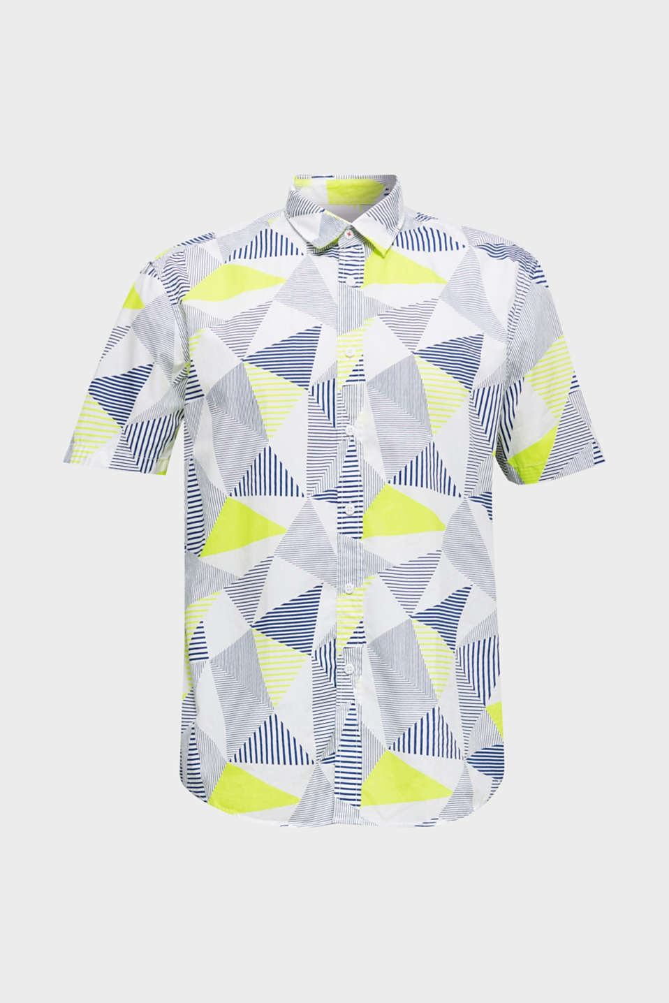 Shirt with a geometric print, 100% cotton, WHITE 4, detail image number 7