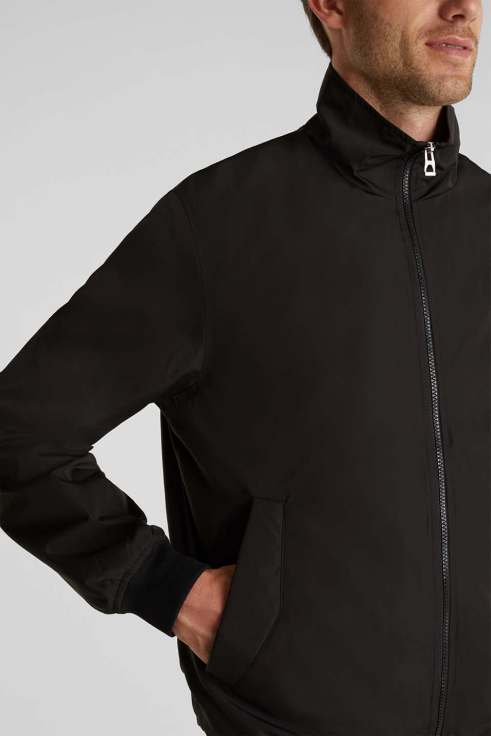 Nylon bomber jacket, BLACK, detail image number 2