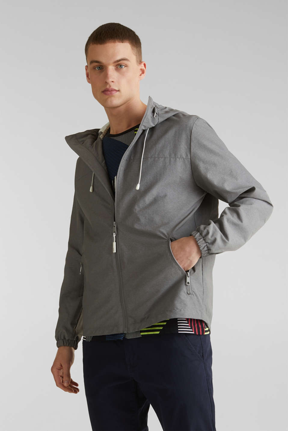 Rain jacket with hood, MEDIUM GREY 5, detail image number 0