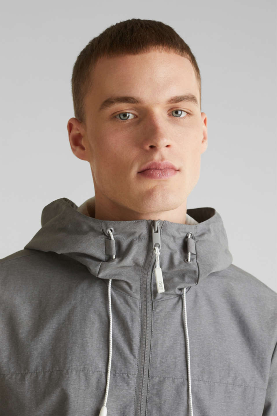 Rain jacket with hood, MEDIUM GREY 5, detail image number 2