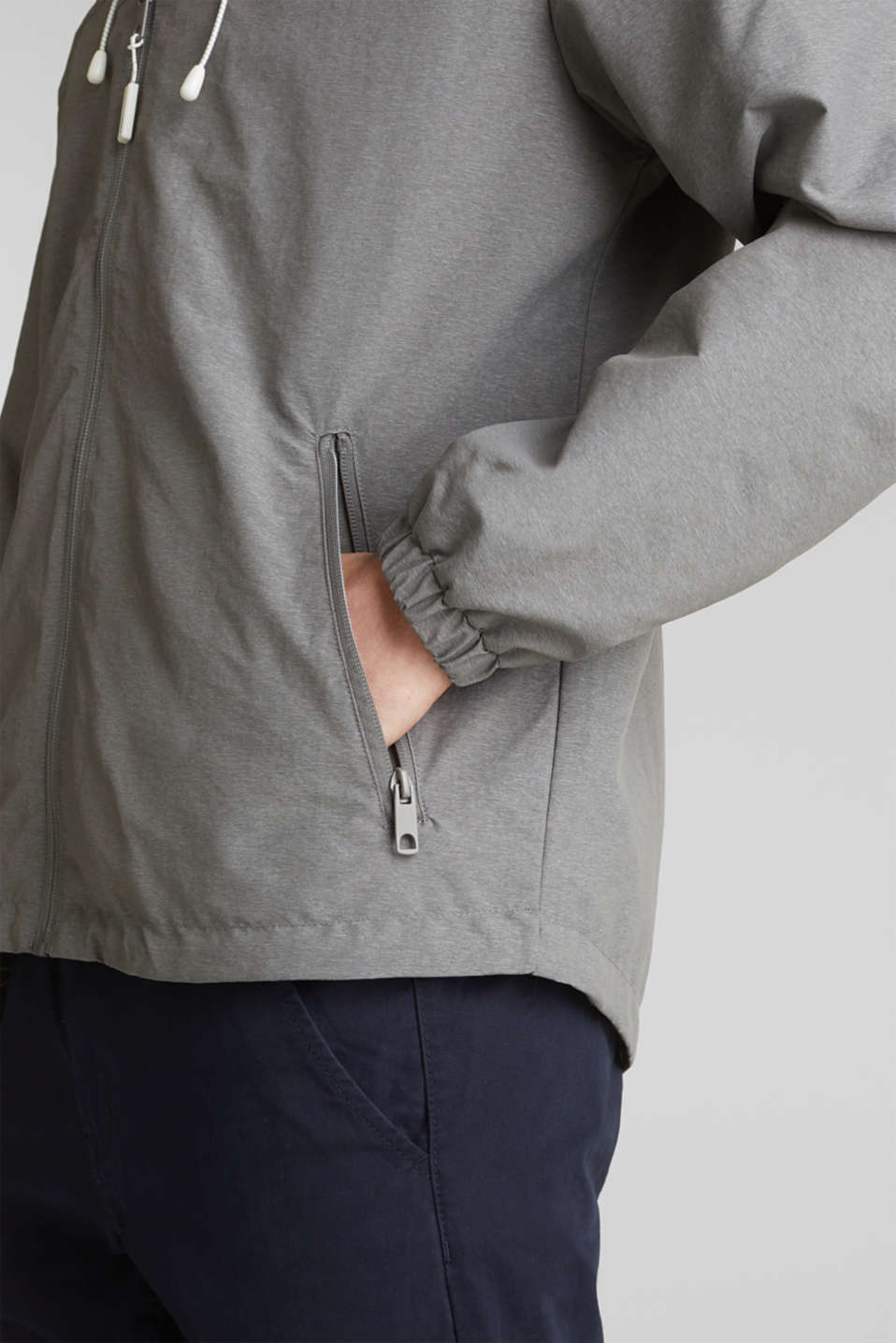 Rain jacket with hood, MEDIUM GREY 5, detail image number 6