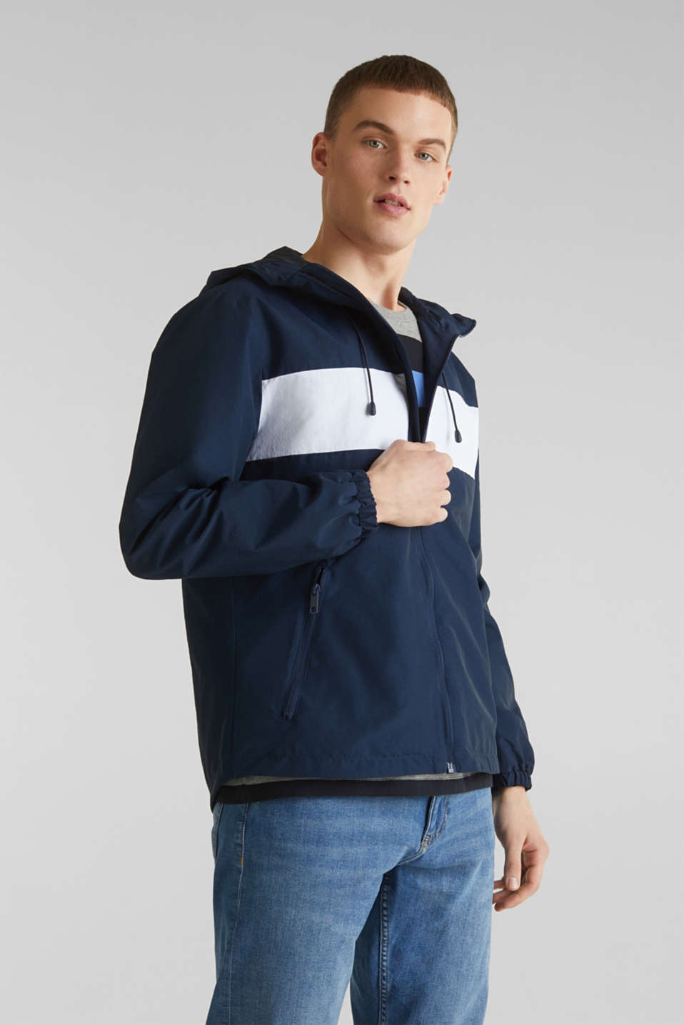 Rain jacket with hood, BRIGHT BLUE 2, detail image number 0