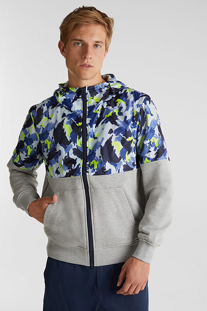 Hooded jacket made of sweatshirt fabric and nylon