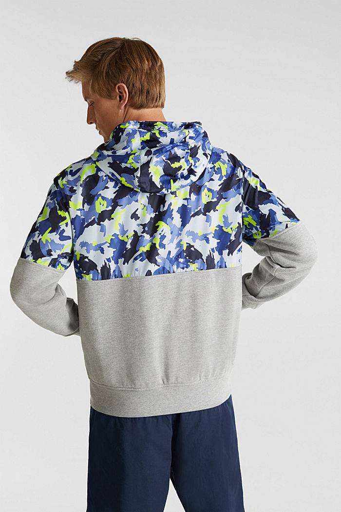 Hooded jacket made of sweatshirt fabric and nylon, MEDIUM GREY, detail image number 3